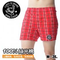 【老船長】S101-100%絲光棉印花平口褲-1件入