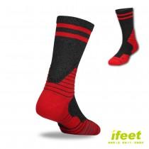 買一送一【老船長】(9816)全方位足弓壓力運動襪籃球襪-1雙入紅色(24-26cm)