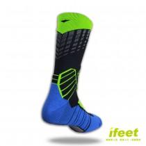 買一送一【老船長】(9817)全方位足弓壓力運動襪籃球襪-1雙入綠色(24-26cm)