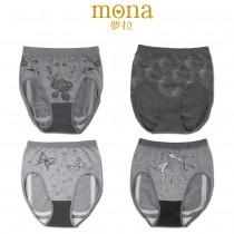 【夢拉mona】竹炭無縫中腰包臀內褲-加大尺寸(12件組)