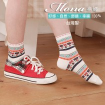 【夢拉】(B206)幾何圖騰配色短襪-3雙入