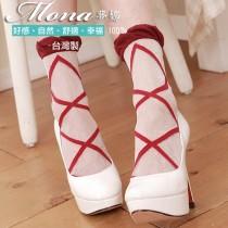 【夢拉】(14-F)浪漫巴黎風芭蕾綁帶造型短襪-3雙入